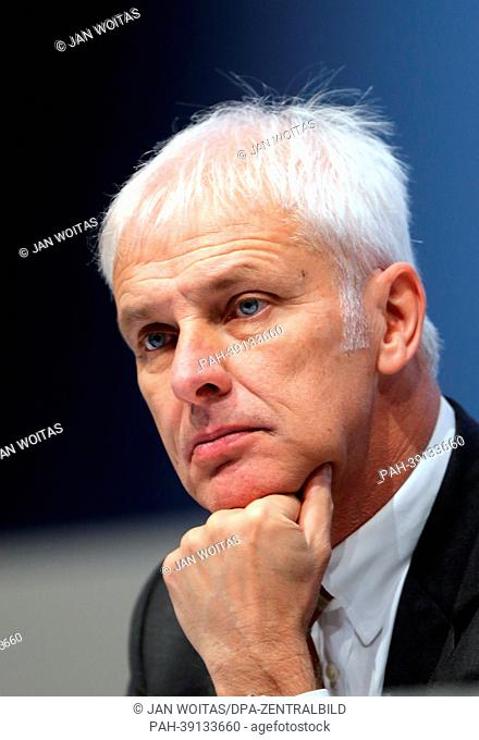Matthias Mueller, Chairman of Porsche SE, gestures during the general meeting of the investment company in Leipzig, Germany, 30 April 2013