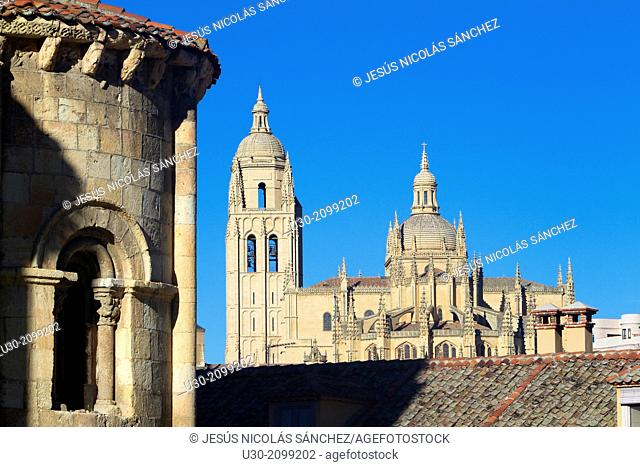 Cathedral from San Mill‡n Church, in Segovia, city declarated Historical-Artistic Site, and World Heritage by UNESCO