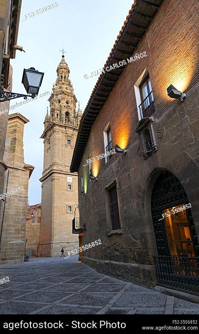 Bell Tower, Old Hospital, Parador de Turismo, Square of the Saint, SAnto Domingo Cathedral, Santo Domingo de la Calzada, La Rioja, Spain, Europe, The Way of St