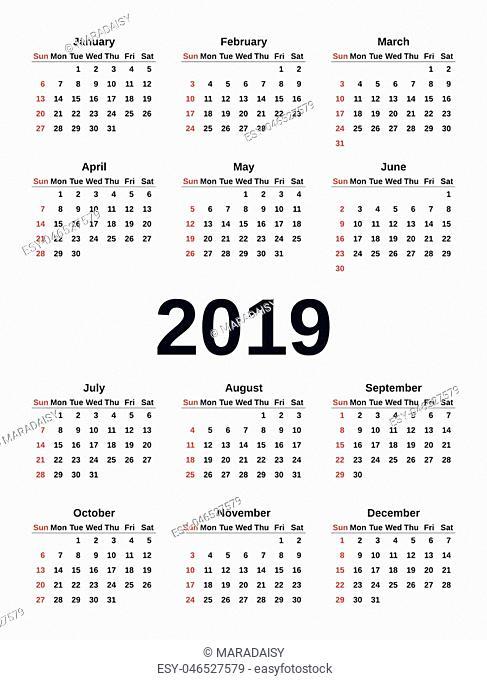 2019 Calendar in simple style. Week starts Sunday. Vector. Stationery 2019 template in minimal design. Yearly calendar organizer