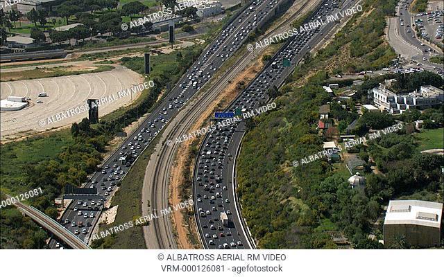 Aerial footage of Ayalon Highway. Yarkon River