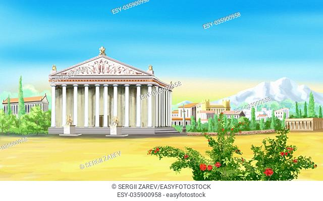 Digital painting of the Temple of Artemis in ancient Greece