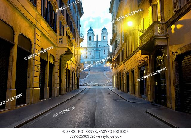 Famous Spanish Stairs and roman street in the morning, Italy