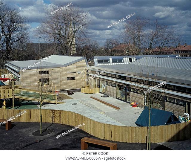 MULGRAVE SCHOOL WOOLWICH, GREENWICH, LONDON, SE10 GREENWICH, UK, DANNATT JOHNSON ARCHITECTS, EXTERIOR, HIGH VIEW FROM CLASSROOM OF PRE-SCHOOL