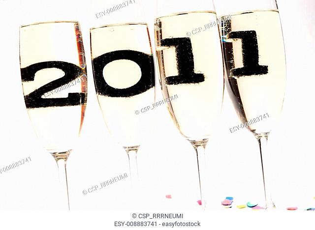 Champagne glasses with sparkling wine in 2011 V4