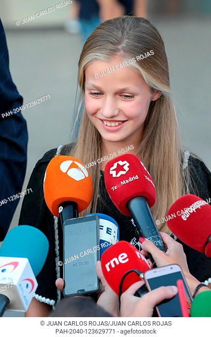 Madrid Spain; 08/27 / 2019.- Princess Leonor..Felipe VI and Letizia Reyes de España speak with the press accompanied by their daughters Princess Leonor and the...