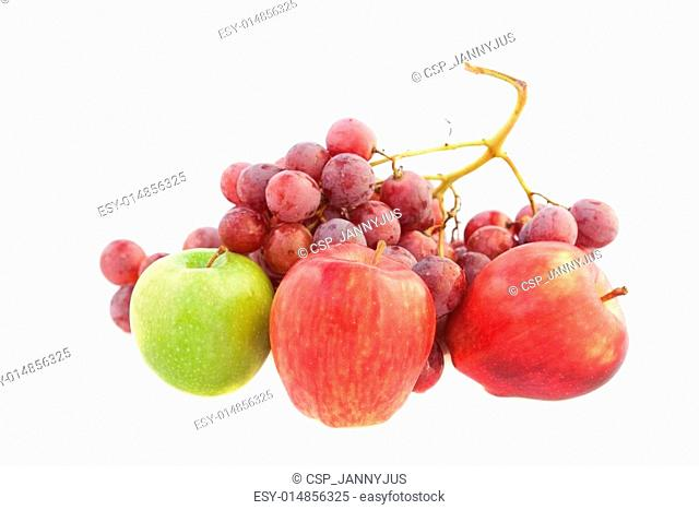 apples and grapes isolated on white