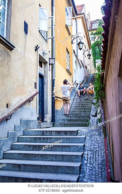 The stone steps alley, Warsaw, Poland