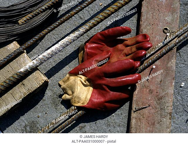 Rubber gloves on floor