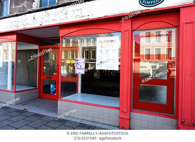 Closed down small business premises on Montrose High street Scotland awaiting new opportunities