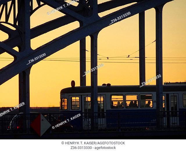 Tram on bridge, Krakow, Poland