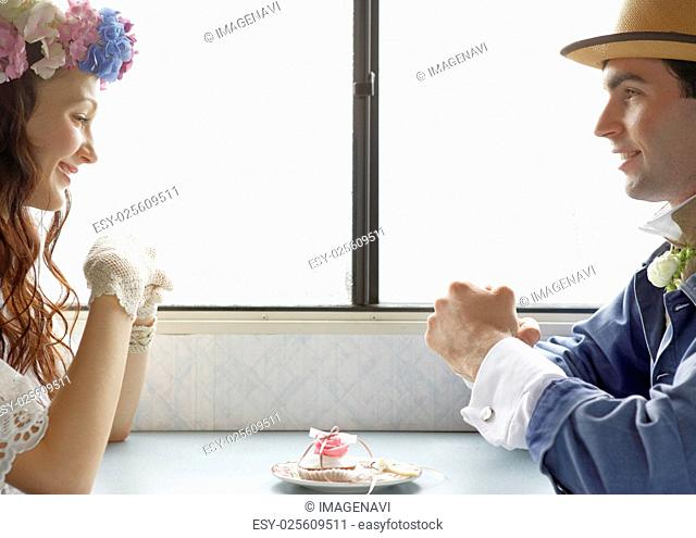 Bridal couple facing each other