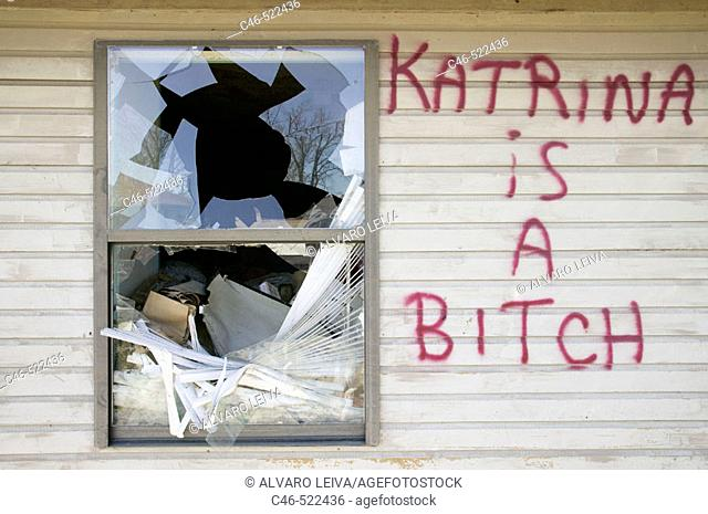 Hurricane Katrina damage at New Orleans, failure of the levee flood defences meant that around 80% of the low-lying port city was flooded