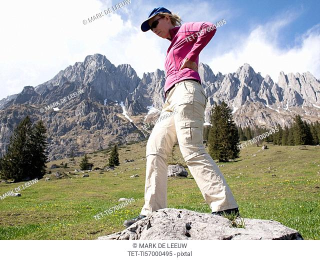 Woman hiking in Alps