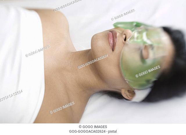 Woman wearing gel mask