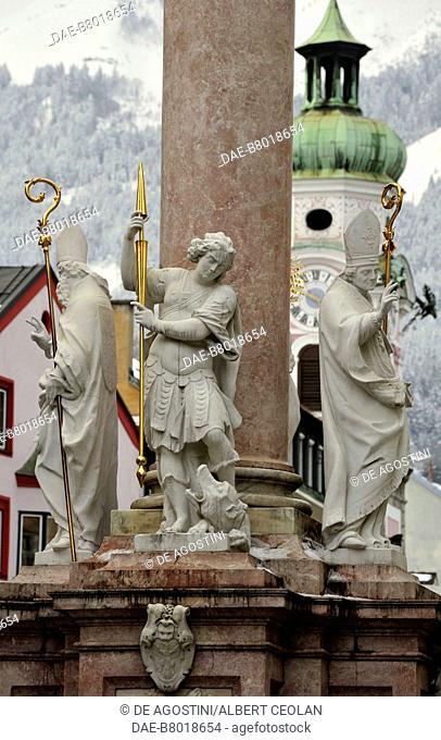 Statues of Saints Cassian, George and Vigilius at the base of Saint Anne's Column (Annasaule), 1706, Innsbruck, Tyrol, Austria, 18th century