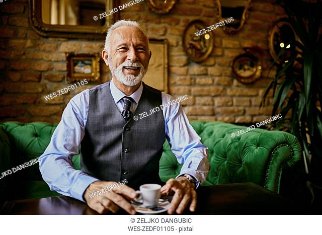 Portrait of elegant senior man sitting on couch in a cafe smiling