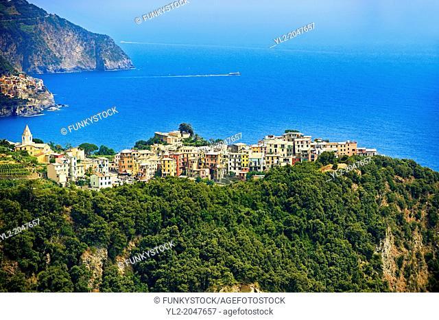 Hilltop Village of Corniglia, Cinque Terre National Park, Ligurian Coast, Italy