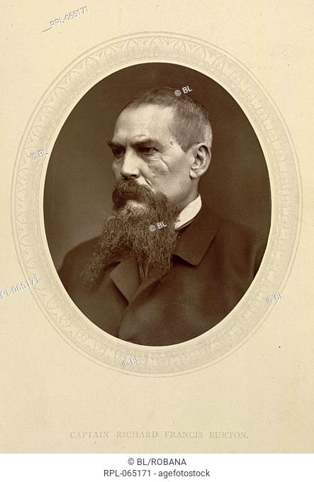 Captain Sir Richard Francis Burton 1821-90. English explorer linguist and diplomat. Portrait. Image taken from Men of Mark: a gallery of contemporary portraits...