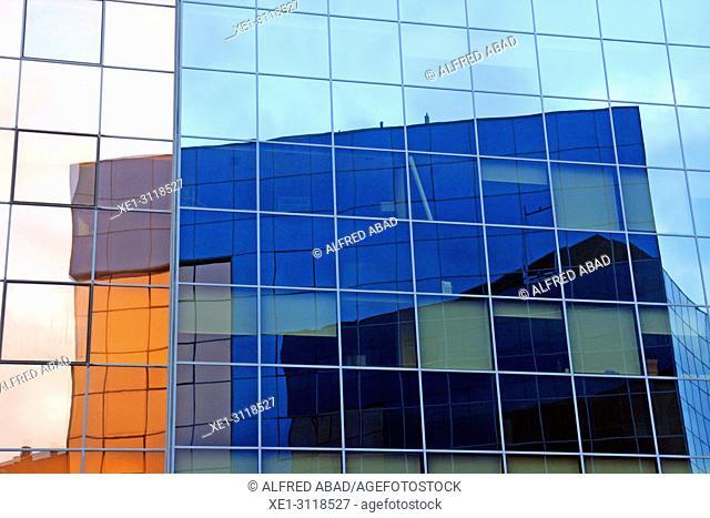 reflections, glass windows, Fuerte del Principe building, Pamplona, Navarra, Spain