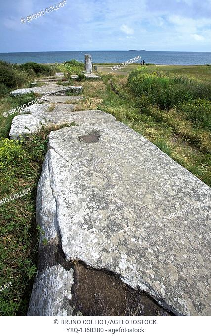Site megalithic, the stones flat, municipality of locmariaquer Morbihan, Brittany, France