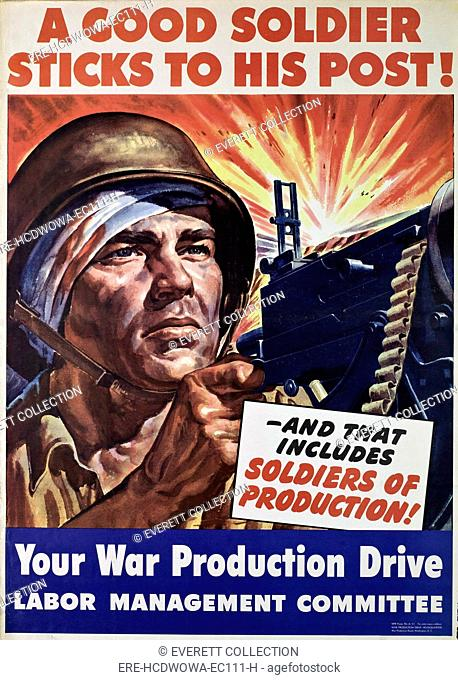World War II poster, American, urging production of arms and warning against absenteeism