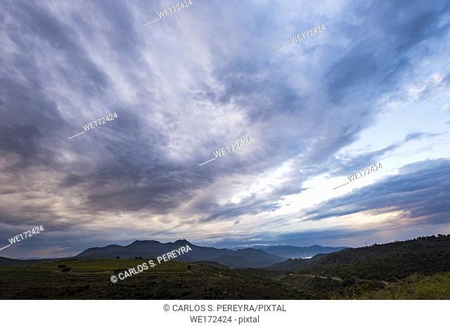 Sunrise in the Cap de Creus natural reserve on the Costa Brava in the province of Girona in Catalonia Spain