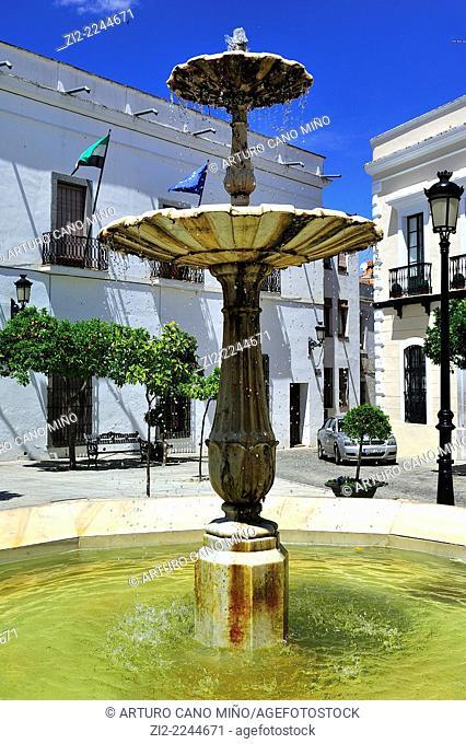 Fountain in Square of Pilar Redondo. Zafra, Badajoz, Spain