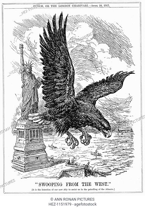 American eagle swooping to guard the Atlantic. Cartoon from Punch, London, 18 April 1917 at the time when America promised to assist Britain in patrolling the...