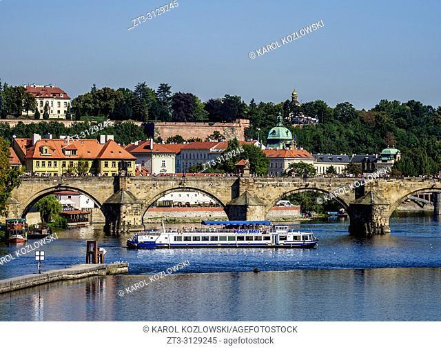 Charles Bridge and Vltava River, Prague, Bohemia Region, Czech Republic