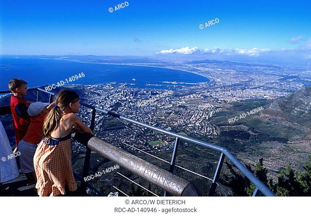 View from Table mountain on Cape Town Western Cape South Africa