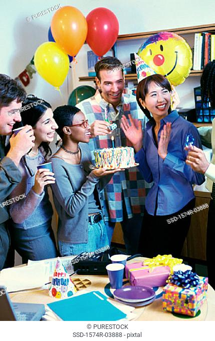 Office cake party hat Stock Photos and Images | age fotostock