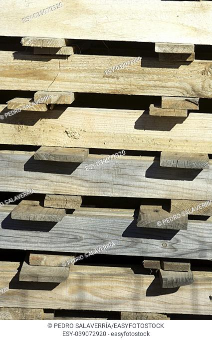 Closeup of a group of wooden pallets