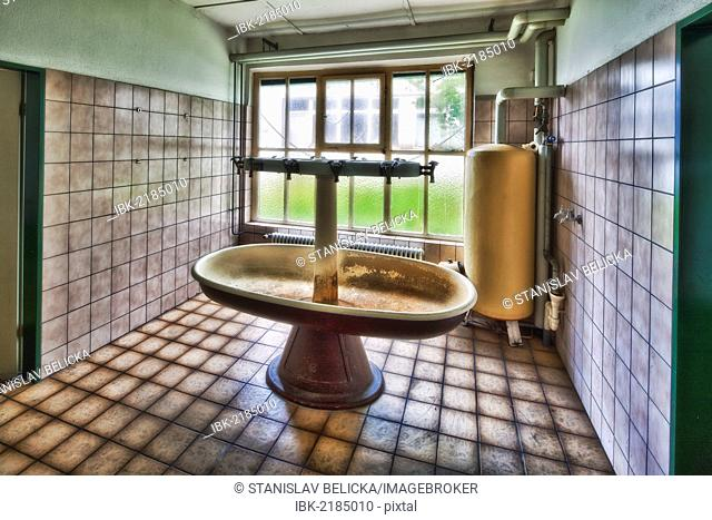 Old washroom in an abandoned factory before its demolition, Laupheim, Baden-Wuerttemberg, Germany, Europe