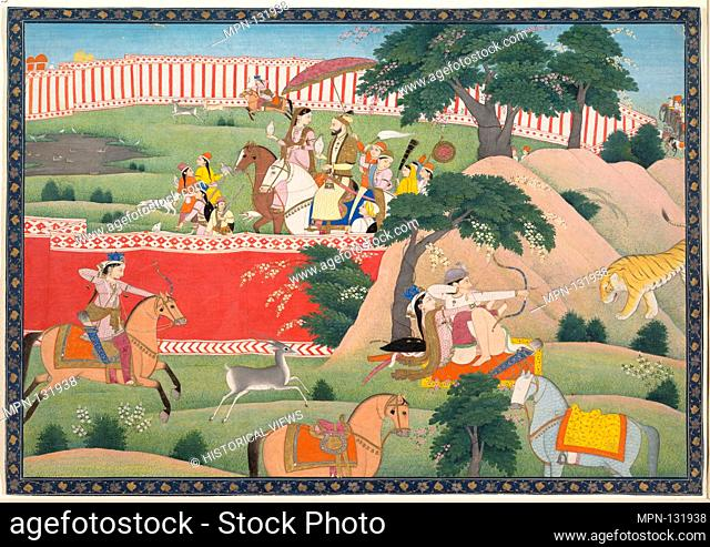 Pleasures of the Hunt. Date: ca. 1800; Culture: North India, Punjab Hills, Kangra; Medium: Ink, opaque watercolor, gold and silver on paper; Dimensions: Image:...