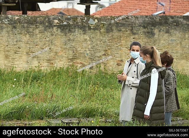 Queen Letizia of Spain, Crown Princess Leonor, Princess Sofia visit Somao, exemplary village during Princess of Asturias Awards 2020 on October 17