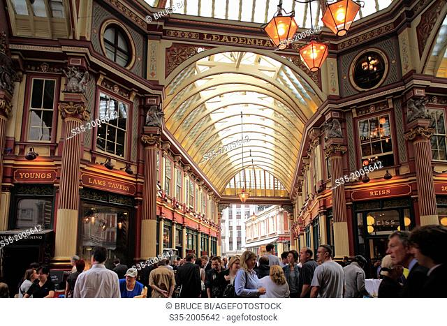 The interior view of Leadenhall Market, London, England, UK