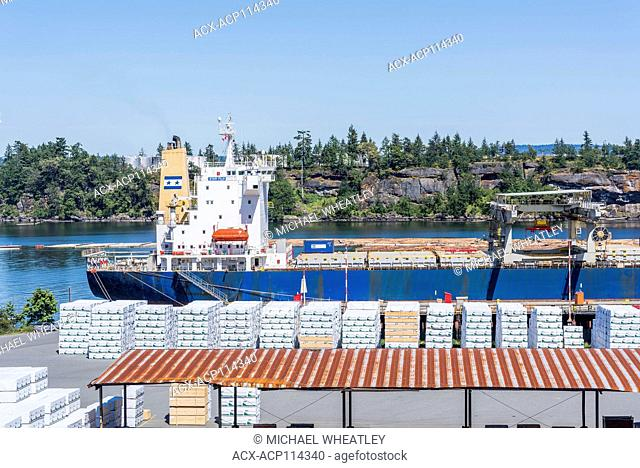Lumber ready for loading on ship, Chemainus, Vancouver Island, British Columbia, Canada