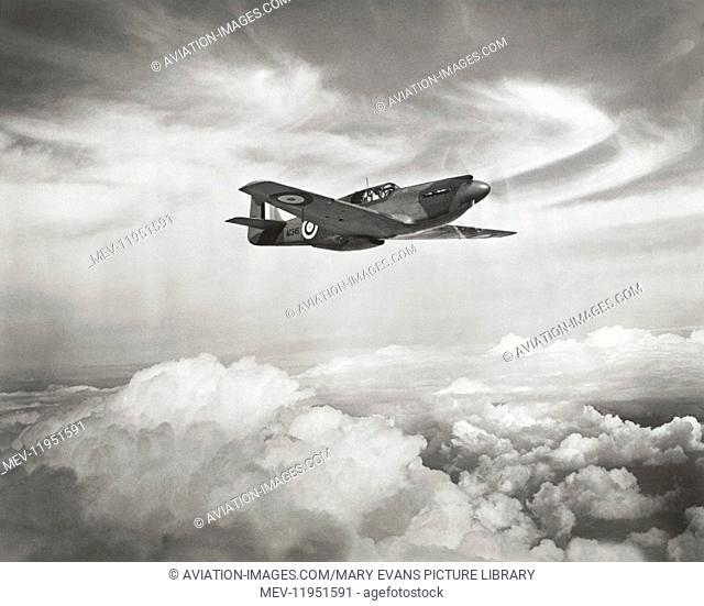The First Royal Airforce RAF North American P-51 Na-73 Mustang 1 Flying over Cumulus Cloud, This Airframe Was Kept by North American As a Test Airframe and...