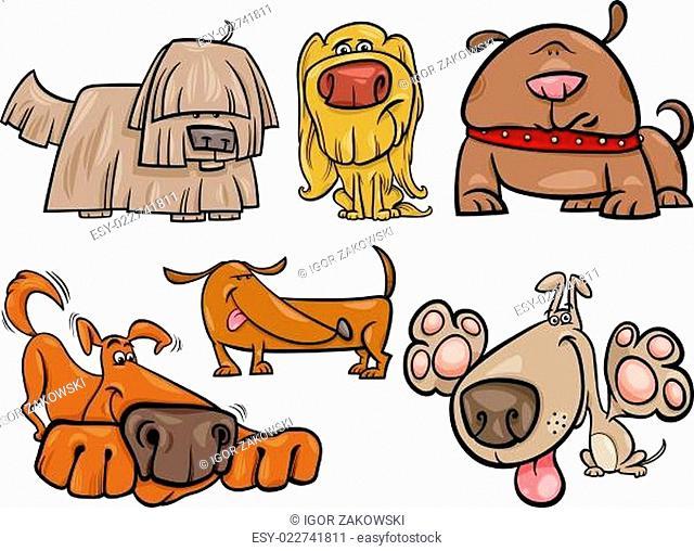 funny dogs set cartoon illustration