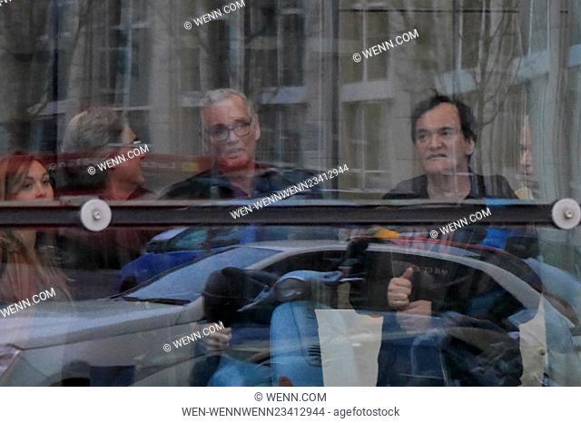 The Hateful 8 cast arriving at Axel Springer building in Kreuzberg Featuring: Kurt Russell, Tanit Koch, Quentin Tarantino Where: Berlin