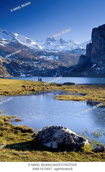 Ercina lake and mountain range in Picos de Europa National Park, Asturias, Spain, Europe
