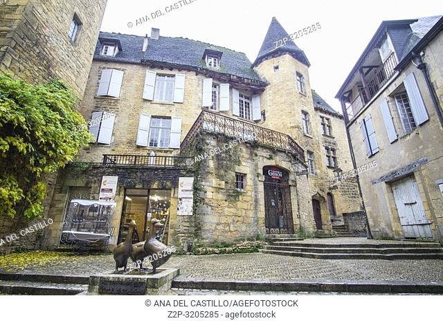 Sarlat la Caneda a beautiful medieval town and one of the highlights to a visit to the Dordogne Perigord France on December 7