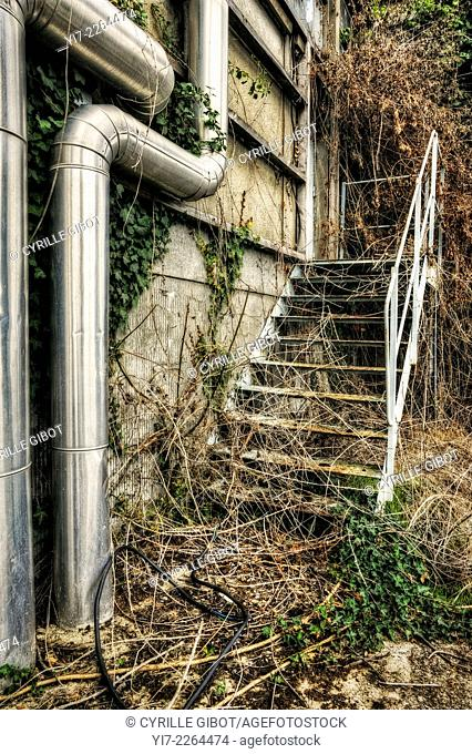 Obsolete industrial staircase
