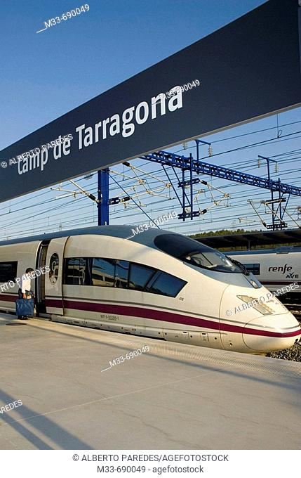 AVE (Spanish High-speed train), model Siemens Serie 103. Camp de Tarragona station, Catalonia, Spain