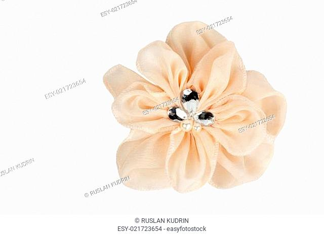 Beige ribbon with rhinestones fabric