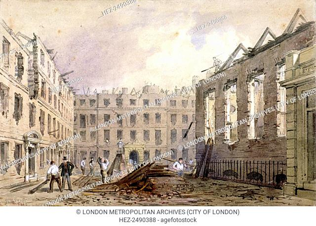 The demolition of Lyon's Inn, Westminster, London, 1862. Lyon's Inn was one of the Inns of Chancery. By the time of its dissolution its lawyers had a...
