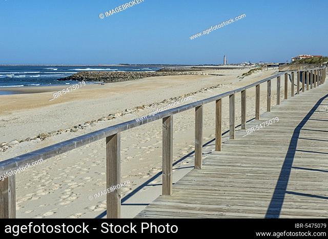 Wooden walkway on the beach Costa Nova, Aveiro, Venice of Portugal, Beira Littoral, Portugal, Europe