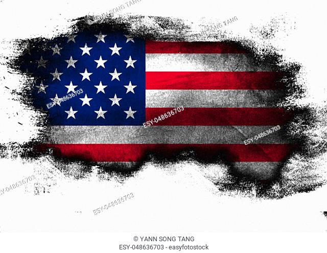 United States flag painted with brush on white background, 3D rendering