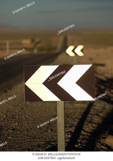 Road sign at desert in Morocco